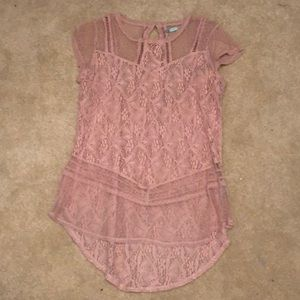 Maurices Pink Lace Blouse